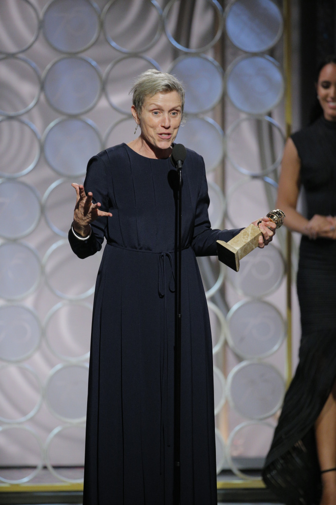 "In this handout photo provided by NBCUniversal, Frances McDormand accepts the award for Best Performance by an Actress in a Motion Picture – Drama for ""Three Billboards Outside Ebbing, Missouri""  during the 75th Annual Golden Globe Awards at The Beverly Hilton Hotel on January 7, 2018 in Beverly Hills, California.  (Photo by Paul Drinkwater/NBCUniversal via Getty Images)"