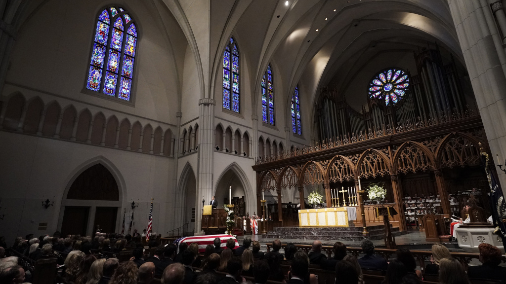 George P. Bush gives a eulogy during the funeral service for his grandfather, former President George H.W. Bush, at St. Martins Episcopal Church in Houston on Thursday.