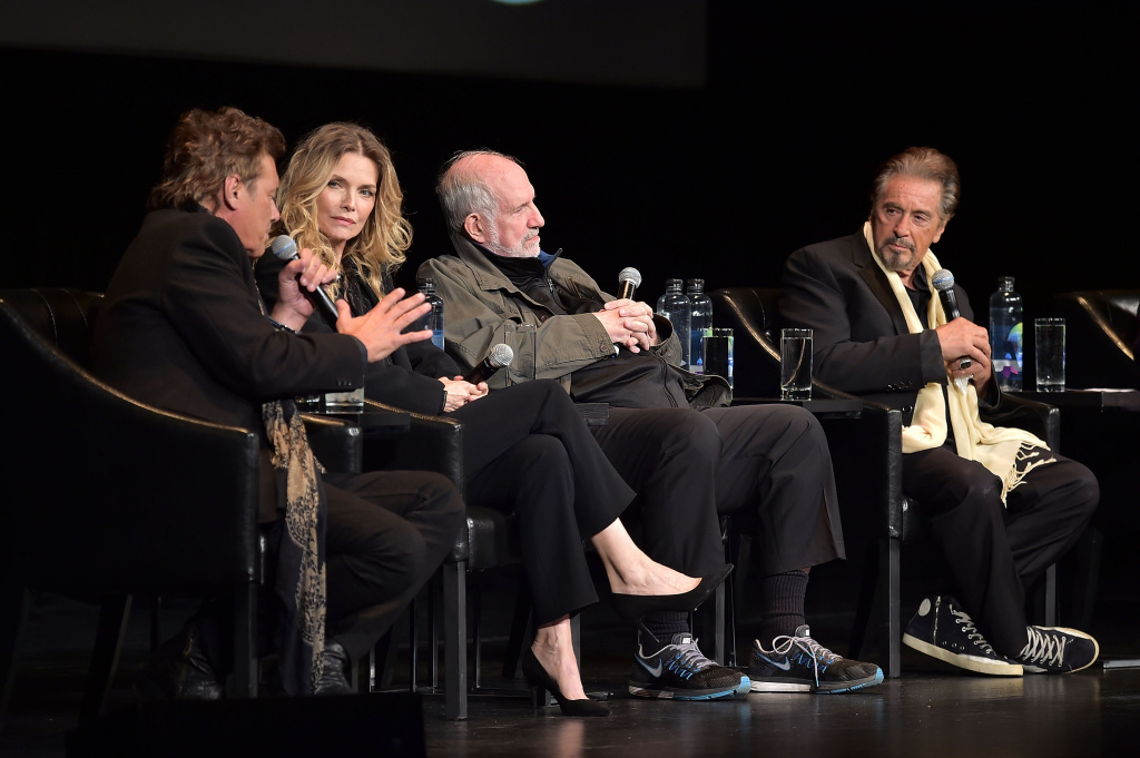 NEW YORK, NY - APRIL 19:  Steven Bauer, Michelle Pfeiffer, Brian De Palma and Al Pacino attend the