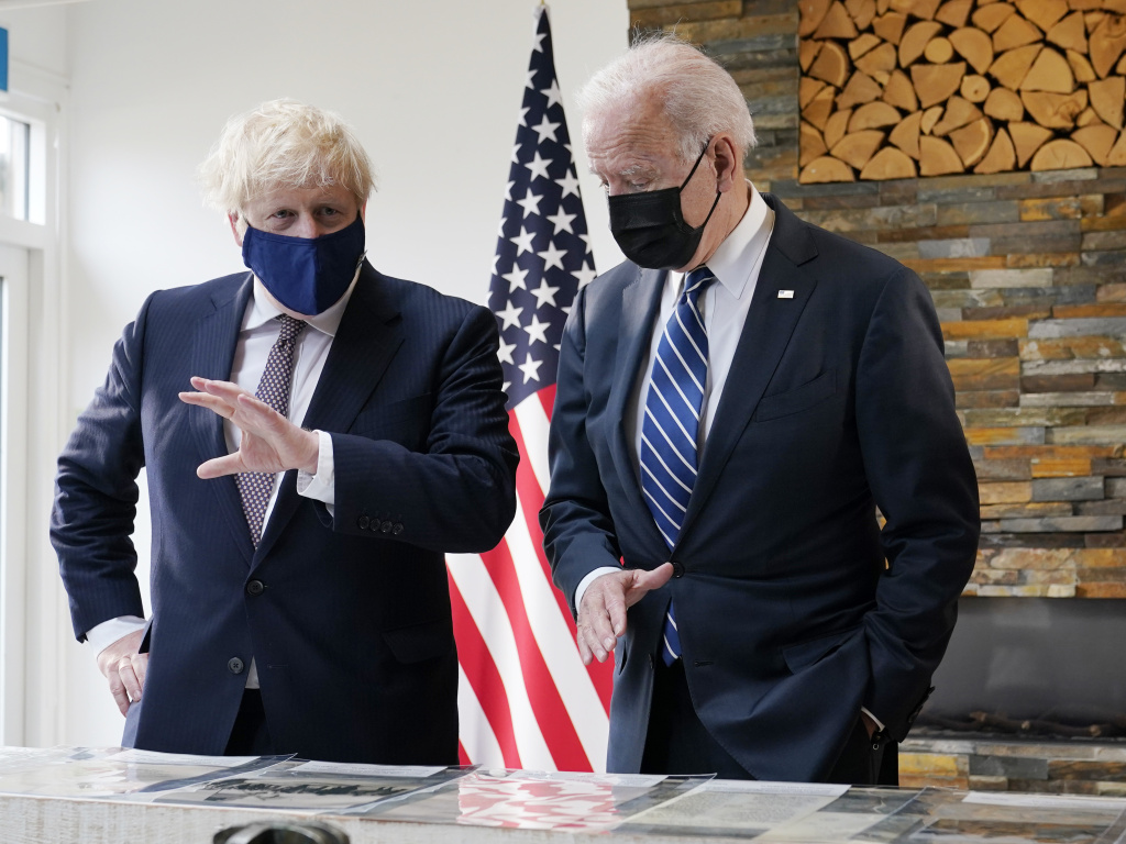 President Biden and British Prime Minister Boris Johnson speak during a bilateral meeting ahead of the G-7 summit on Thursday in Carbis Bay, England.