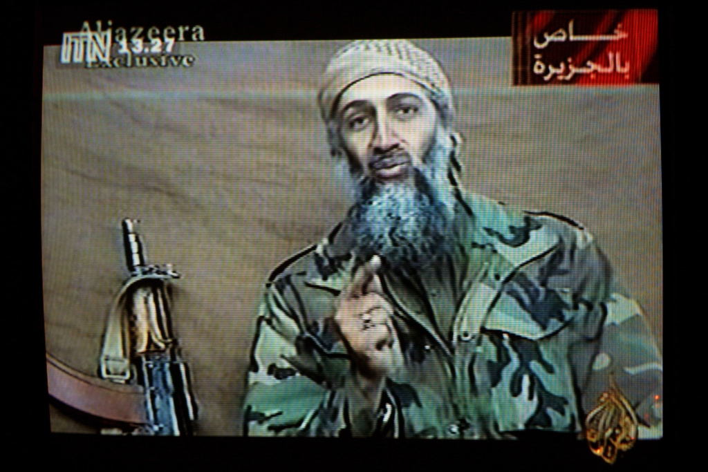 A videotape released by Al-Jazeera TV featuring Osama Bin Laden is broadcast in Britain December 27, 2001.