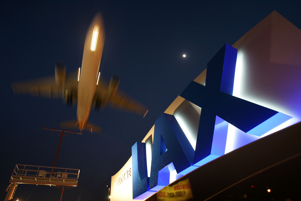 A jet comes in for landing at Los Angeles International Airport (LAX) in Los Angeles, California.
