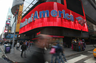 File: A Bank of America branch is seen in Times Square October 19, 2010 in New York City.
