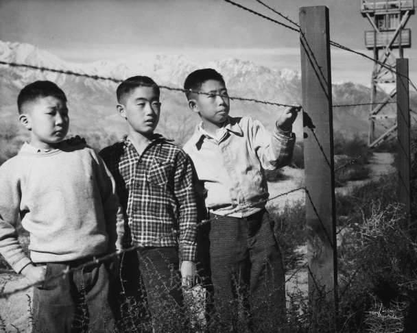 Internees at the Manzanar camp in central California, circa 1942.