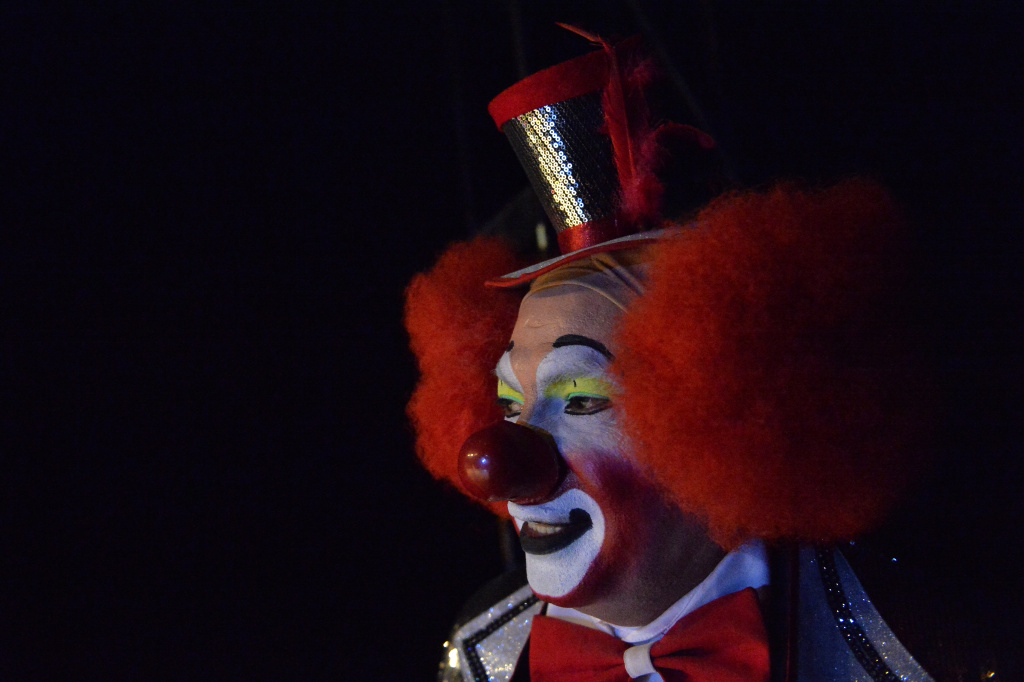 A clown remains on the stage during the second day of the XXI Convention of Clowns, at the Jimenez Rueda Theatre, in Mexico City on October 18, 2016.