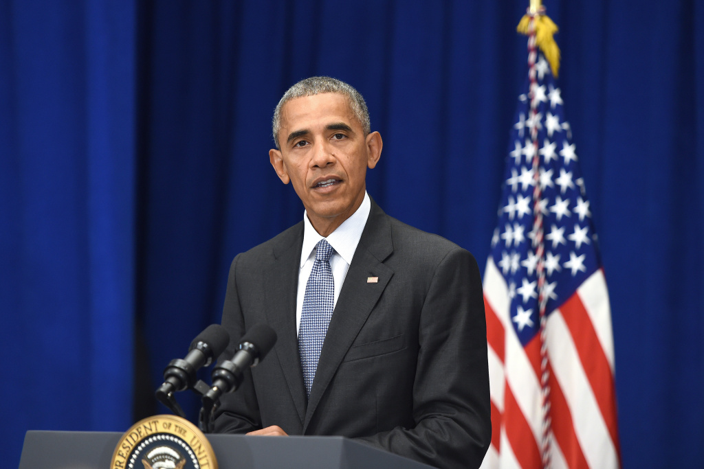 U.S. President Barack Obama holds a press conference about the recent bombings in the New York region at the Lotte New York Palace Hotel on September 19, 2016 in New York City.