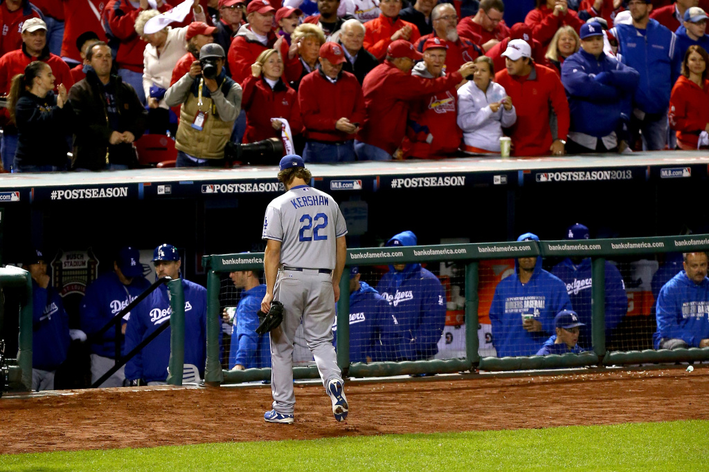 ST LOUIS, MO - OCTOBER 18:  Pitcher Clayton Kershaw #22 of the Los Angeles Dodgers is pulled in the fifth inning against the St. Louis Cardinals in Game Six of the National League Championship Series at Busch Stadium on October 18, 2013 in St Louis, Missouri.