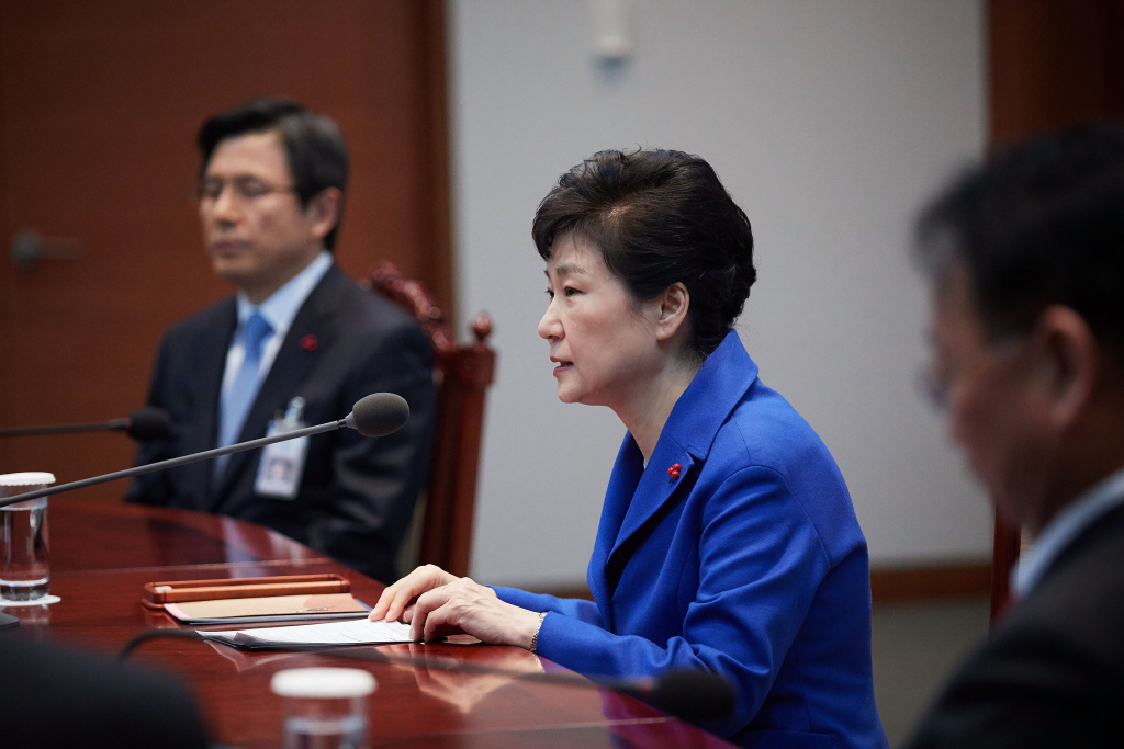In this handout photo released by the South Korean Presidential Blue House, South Korea's President Park Geun-Hye attends the emergency cabinet meeting at the presidential office on December 9, 2016 in Seoul, South Korea.