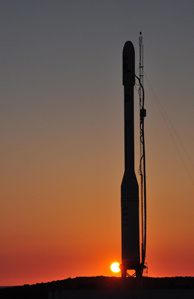 File photo: As the sun goes down over Vandenberg Air Force Base in California, the Orbital Sciences Taurus XL rocket and NASA's encapsulated Glory spacecraft awaits the next launch opportunity from Space Launch Complex 576-E. Feb. 22, 2011