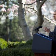 President Obama, with Vice President Biden, speaks about the Affordable Care Act April 1 in the Rose Garden.