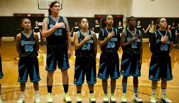 Gabrielle Ludwig, a 6-foot-6-inch transsexual player on Mission College's women's basketball squad, reflects on her return to college ball on Friday, Dec. 7, 2012, in Santa Clara, Calif. Gabrielle Ludwig made sports history this month as a basketball player at a Northern California community college. The 50-year-old transsexual, Army veteran, father and Mission College freshman is believed to be the first hoopster to play college ball as both a man and a woman.