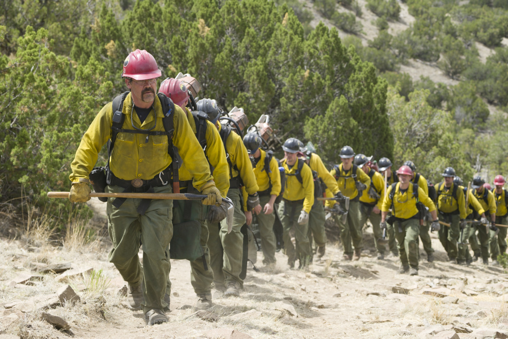 Eric Marsh (Josh Brolin) leads the Granite Mountain Hotshots up the trail at Yarnell Hills in Columbia Pictures'