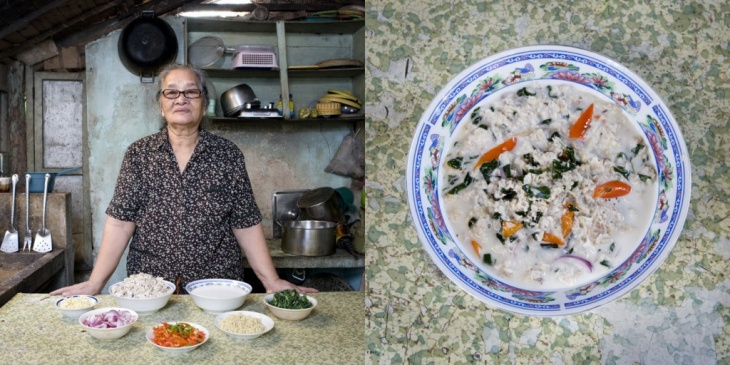 Carmen Alora, 70, from El Nido, Philippines, serving kinunot (shark in coconut soup).
