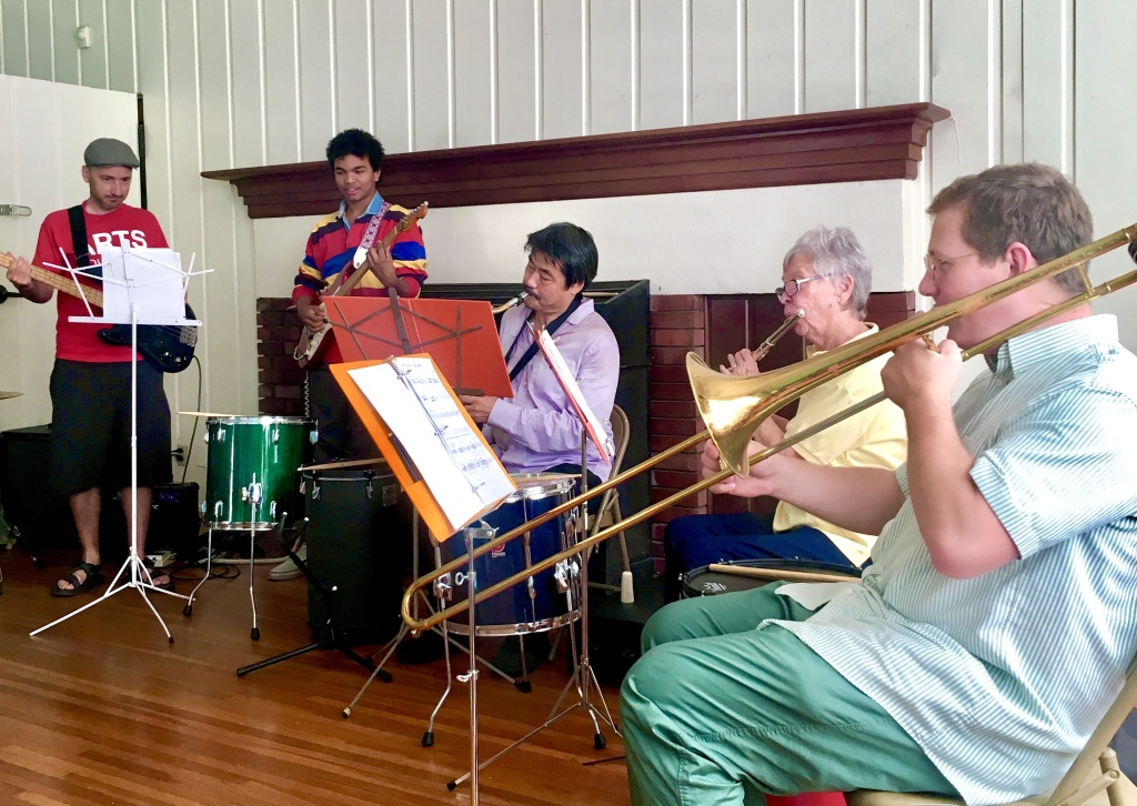 The Hermon Park Community Band (L to R: Monk Turner, Julian Cullers, Jiro Matsuki, Kristi Rodehorst & Logan Hone)