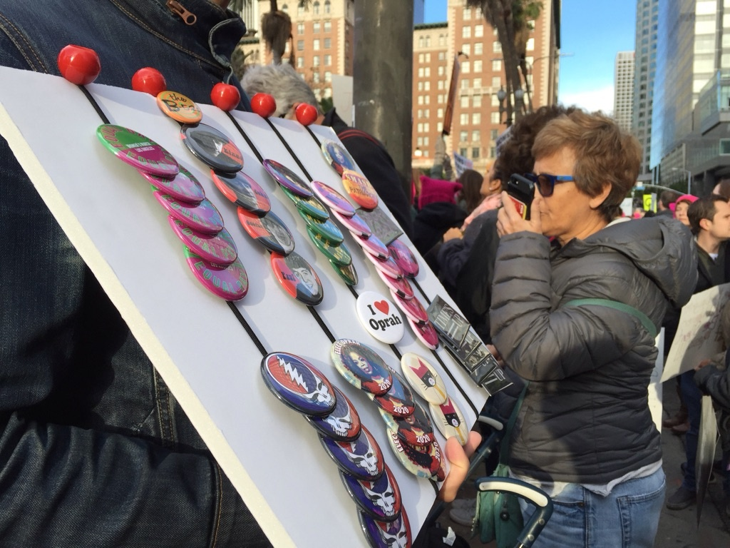 Demonstrators gather at Pershing Square in downtown Los Angeles for a Women's March on Jan. 20, 2018.