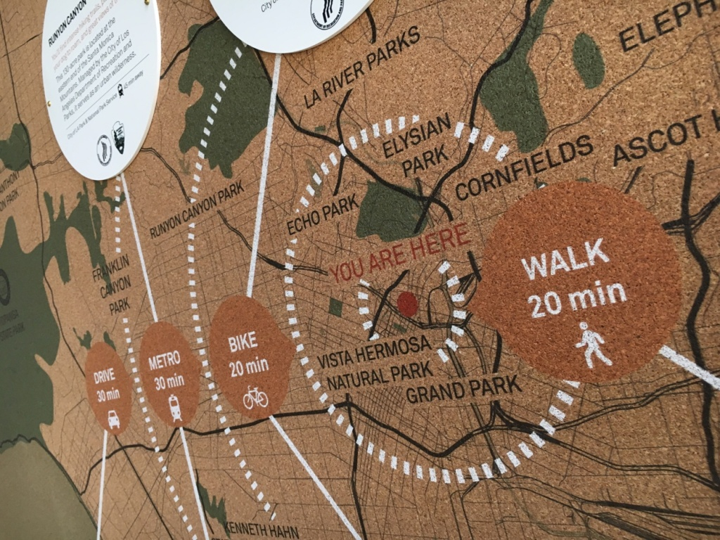 A map at the Gateway to Nature Center shows the distance and commuting time for Angelenos coming from downtown L.A.