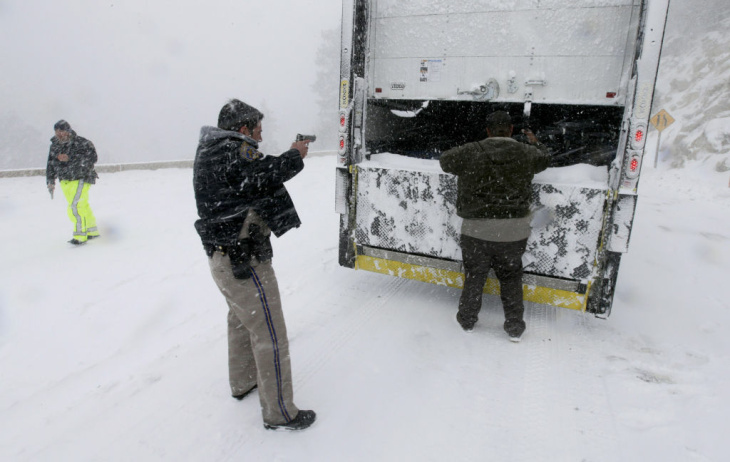 A law enforcement official exits a command center for the search for Christopher Dorner near the Bear Mountain Ski Resort.