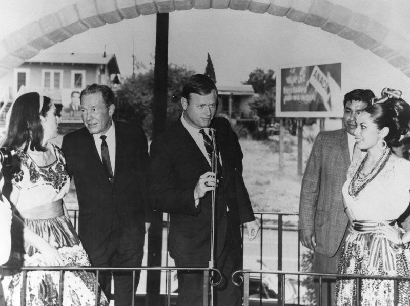 City Councilman Art Snyder (center) at opening of El Mercado, 1968. Mayor Sam Yorty is 2nd from left.