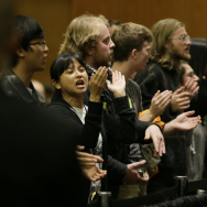 Students shout their disapproval after the University of California Board of Regents voted to raise tuition Thursday, Nov. 20, in San Francisco. UC students across the state protested today by walking out of class.