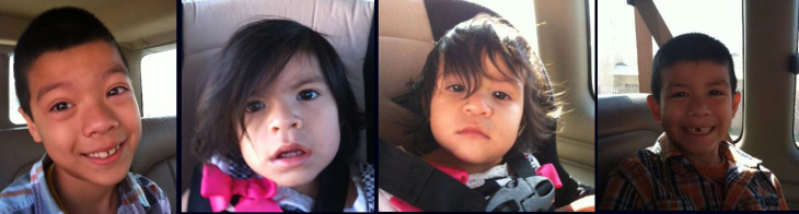 From Left: Missing children Enrique Felix (7 years old), Veronica Felix (1). Janeth Felix (1), and Justin Felix (5)