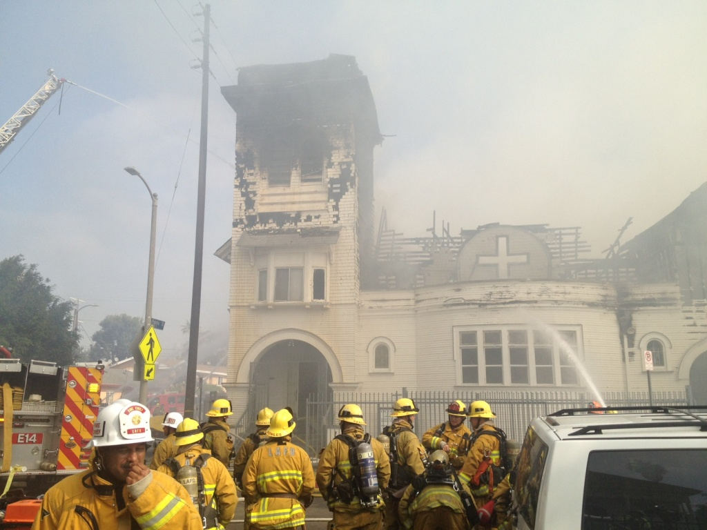 A 3-alarm fire damaged the historic Crouch Memorial Church Tuesday.