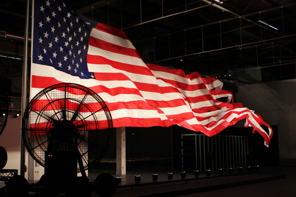 Last Spring, the conceptual artist William Pope.L rigged a 54-foot American flag to fly grandly across the Geffen Contemporary — with the help of some industrial fans. Now, he's keeping up the pace with a pair of solo shows across Los Angeles.