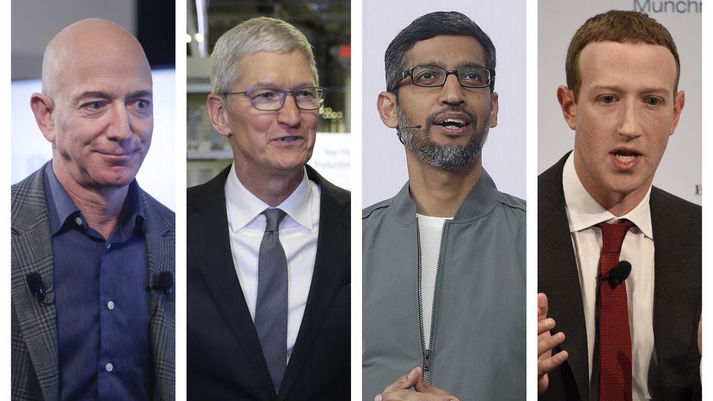 Amazon's Jeff Bezos, Apple's Tim Cook, Google's Sundar Pichai and Facebook's Mark Zuckerberg will face congressional questioning about whether tech has too much power.