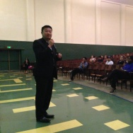 Los Angeles Unified instructional superintendent Tommy Chang speaks to parents at Jefferson High on Oct. 13, 2014 about a plan to fix class scheduling problems at the school.