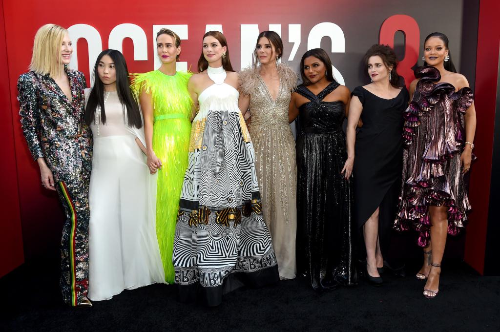 Cate Blanchett, Awkwafina, Sarah Paulson, Anne Hathaway, Sandra Bullock, Mindy Kaling, Helena Bonham Carter and Rihanna attend the
