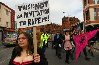 Demonstrators march on a Slutwalk on June 4, 2011: first ever slut walk made in a bid to raise awareness about commonly-held attitudes towards rape and sexual assault.