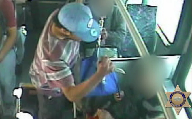 A man was caught on camera stabbing a fellow bus passenger in East Los Angeles on Monday, April 9.