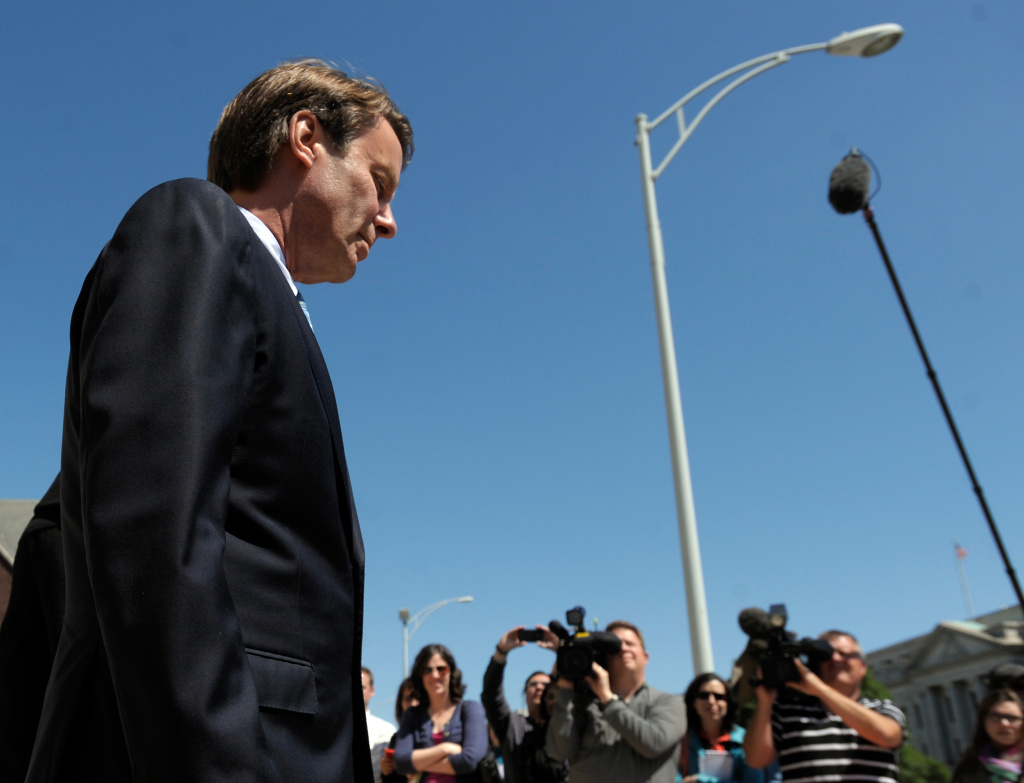 Former Senator John Edwards leaves the US Federal Courthouse after the first day of jury selection on April 12, 2012 in Greensboro, North Carolina. Today, Edwards was acquitted of one count, and a mistrial was declared in five other counts of campaign finance fraud.