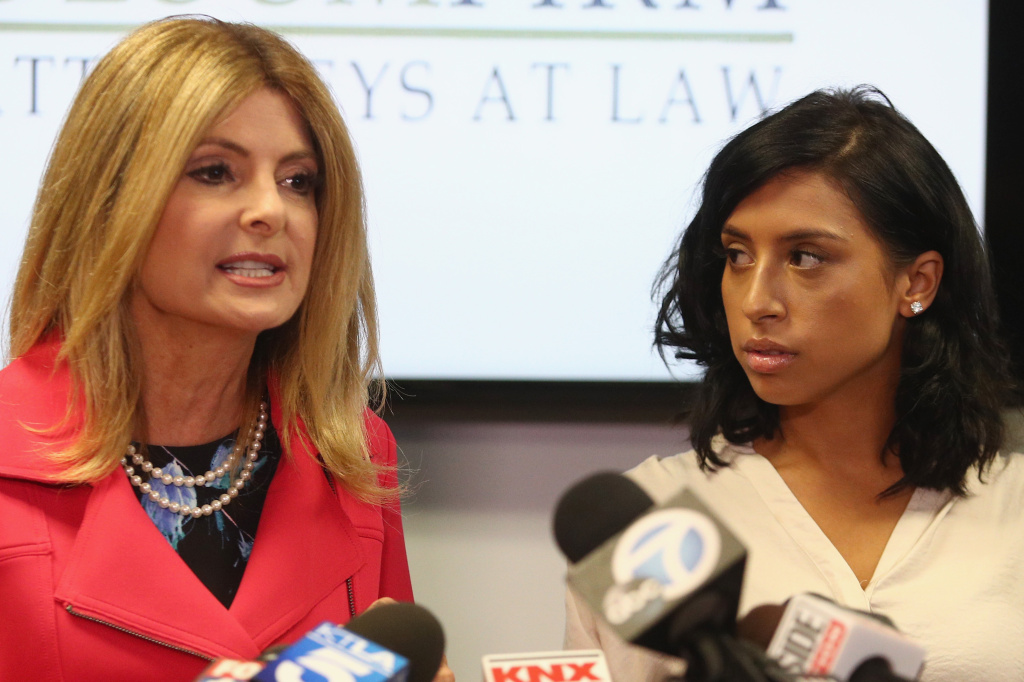 Lisa Bloom and her client, Montia Sabbag, during a press conference on September 20, 2017 in Woodland Hills, California.
