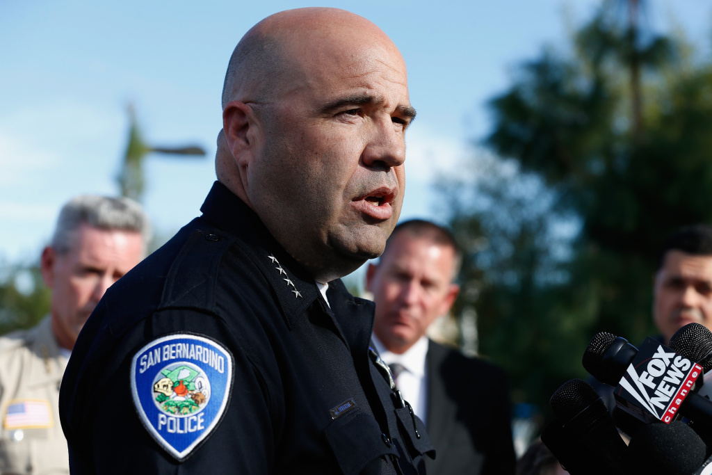 San Bernardino Police Chief Jarrod Burguan speaks with the media regarding the shooting that left 14 dead at the Inland Regional Center on December 2, 2015 in San Bernardino, California.