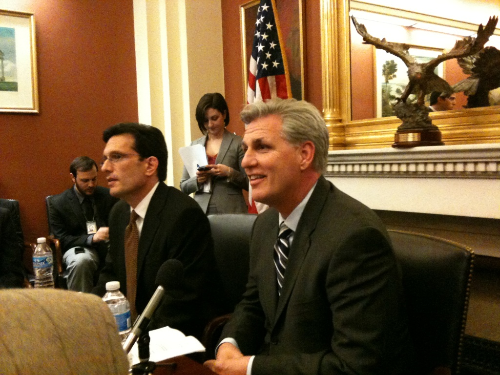 House of Representatives Majority Whip Kevin McCarthy (right) with Majority Leader Eric Cantor.