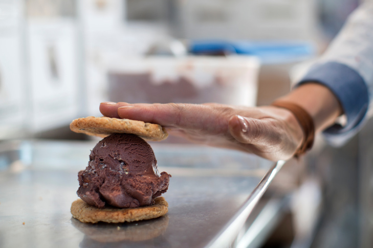 Coolhaus Co-Founder Natasha Case prepares to make an ice cream sandwich for Take Two host A Martinez.