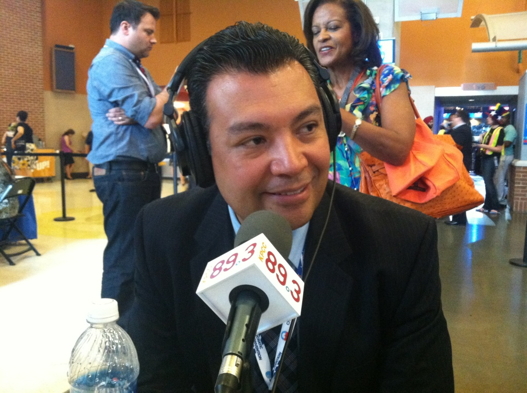 California State Senator Alex Padilla speaks with KPCC's Patt Morrison in Charlotte, North Carolina on September 4, 2012.