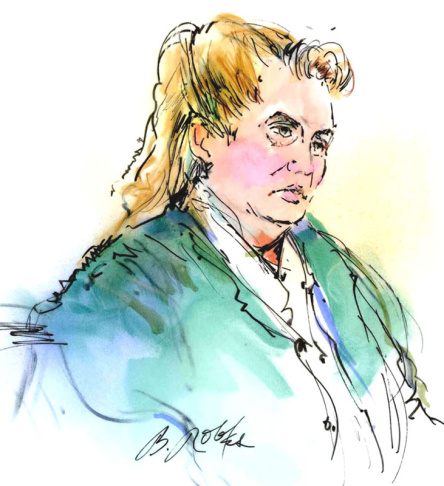 In this courtroom sketch, Dorothee Burkhart appears in federal court on fraud charges Tuesday Jan. 3, 2012 in Los Angeles. Burkhart is the mother of suspected Los Angeles arsonist Harry Burkhart. (AP Photo/Bill Robles)