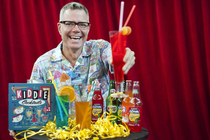 Charles Phoenix mixes up some of Stuart Sandler's kiddie cocktails at KPCC. The drink recipes are featured in Sandler's new book,