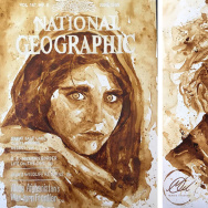 (Left) Afghan girl; (Right) Albert Einstein, by Maria Aristidou