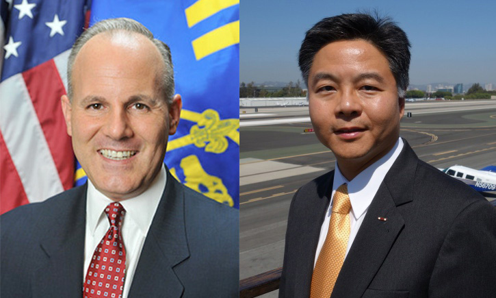 Deputy District Attorney Elan Carr, left, is the first Republican to jump into the race to succeed Rep. Henry Waxman. State Sen. Ted Lieu, right, appears slated to win the state Democratic Party's endorsement.