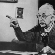 Mathematical physicist Albert Einstein (1879 - 1955) delivers one of his recorded lectures circa 1955.