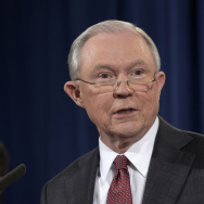 Attorney General Jeff Sessions speaks at the Justice Department in March 2017. (Susan Walsh/AP.)