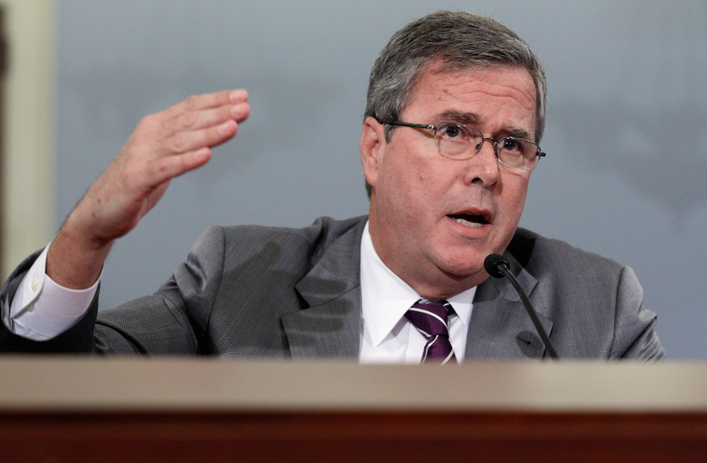 Former Florida Governor Jeb Bush testifies before the House Budget Committee in the Cannon House Office Building on Capitol Hill June 1, 2012 in Washington, DC.