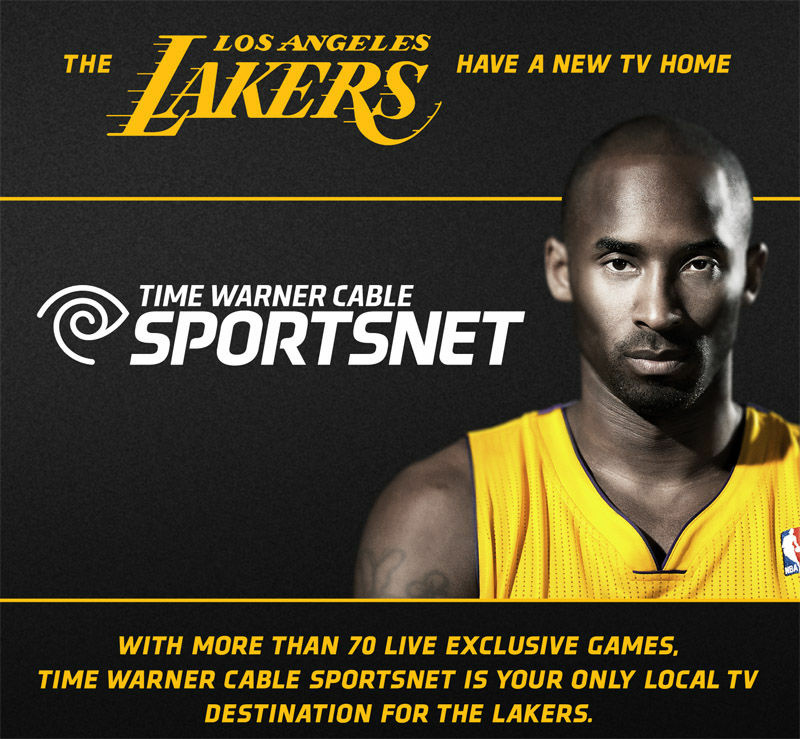 A handout announcing Time Warner Cable Sportsnet broadcasting the Lakers 2012-2013 season