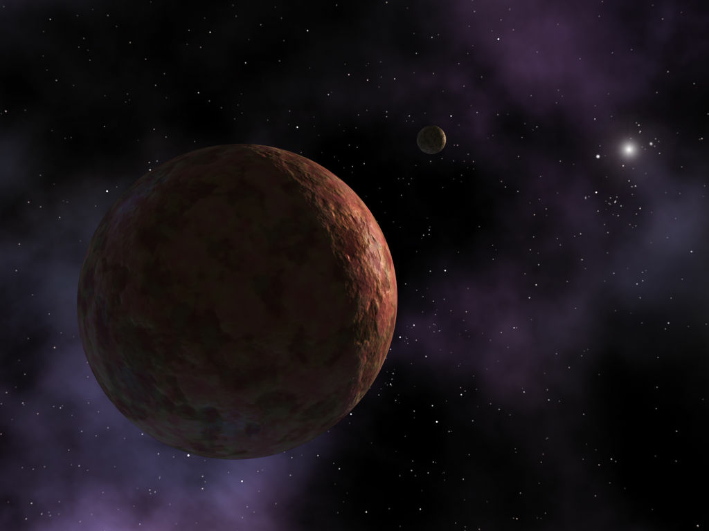 In this Caltech handout, a rendering of the farthest object in our solar system, Sedna, is seen. Sedna is a mysterious planet-like body three times farther from Earth than Pluto. NASA held a news conference March 15, 2004 to detail the findings by a team of astronomers at Caltech led by Dr. Mike Brown.