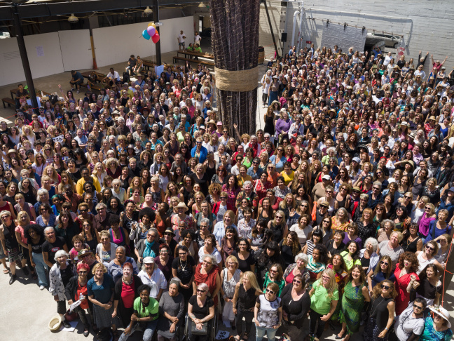 More than 700 female artists gathered at Hauser Wirth & Schimmel for Now Be Here, on Sunday, August 28, 2016.