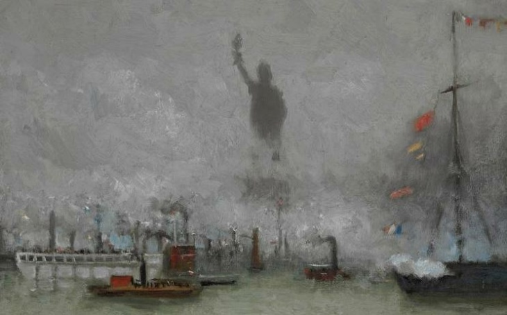 In his own painting, F. Hopkinson Smith obscures his part of the Statue of Liberty.