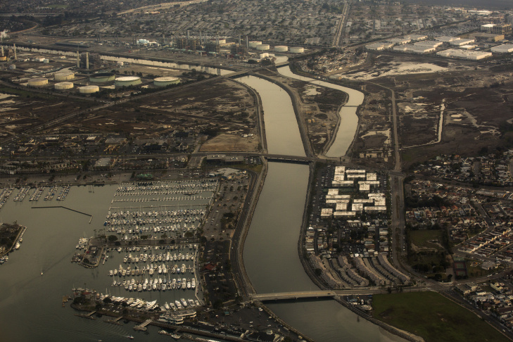 The San Gabriel River leads into the Pacific Ocean at Alamitos Bay in Long Beach.