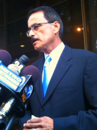 Los Angeles City Councilman Richard Alarcon speaks at a news conference announcing his indictment for voter fraud, August 4, 2010.